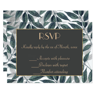 Modern autumn leaves wedding collection card