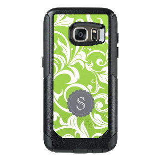 Modern Avocado Floral Wallpaper Swirl Monogram OtterBox Samsung Galaxy S7 Case