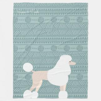 Modern Aztec Designer Poodle Fleece Blanket