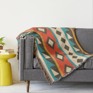 Modern  Aztec. Ethnic. Tribal. Geometric. Throw Blanket