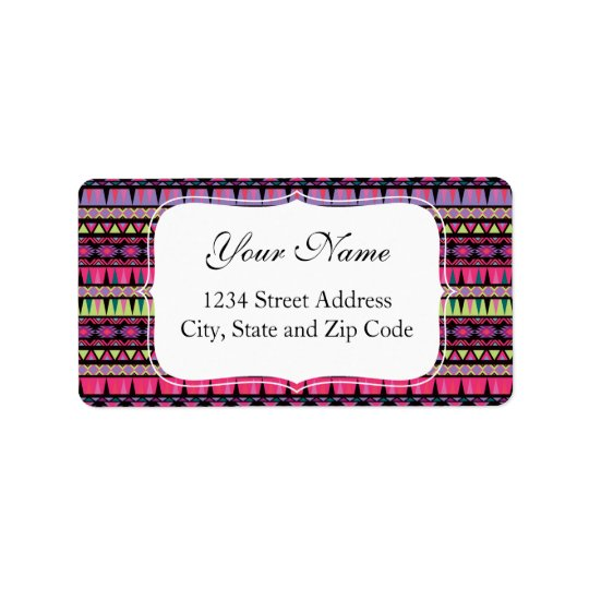 Modern Aztec Pattern Address Label