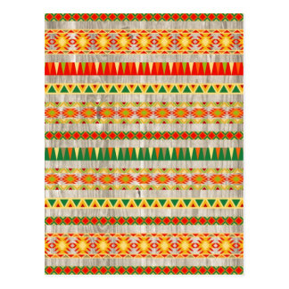 Modern Aztec Pattern on Wood Postcard