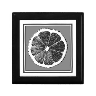 Modern  B&W Grey cut Grape Fruit Design Small Square Gift Box
