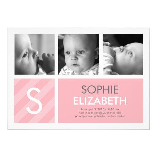 Modern Baby - 3 Photos Birth Announcement Custom Invitations