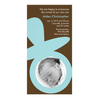 Modern Baby Announcement - Blue Pacifier Photo Card