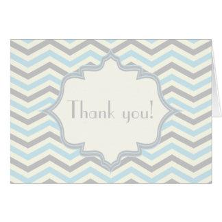 Modern baby blue grey ivory chevron pattern greeting card