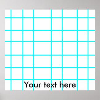 Modern baby blue grid pattern poster