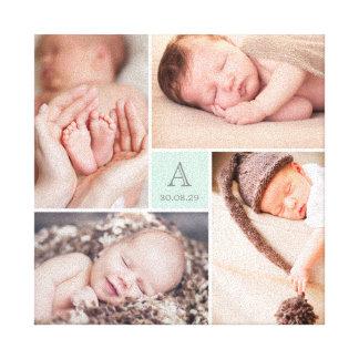 Modern Baby Boy Monogram Photo Collage Canvas Canvas Print