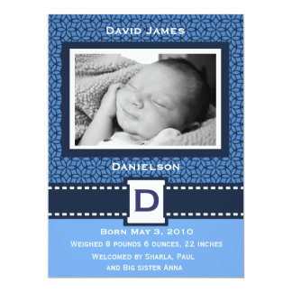 Modern Baby Boy Photo Announcemnet 6.5x8.75 Paper Invitation Card