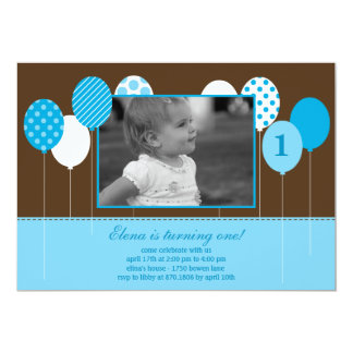 Modern Balloons Photo Birthday Invitation - Blue