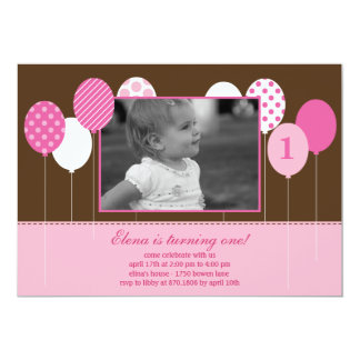 Modern Balloons Photo Birthday Invitation - Pink Personalized Invite