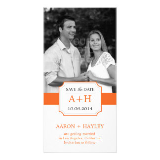 Modern Band Save The Date Photo Card - Orange Picture Card