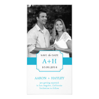 Modern Band Save The Date Photo Card - Turquoise Customized Photo Card