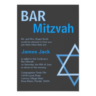 Modern Bar Mitzvah Invitiation- Blue & Grey 13 Cm X 18 Cm Invitation Card