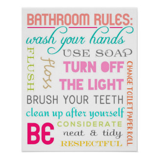 Modern Bathroom Rules Print