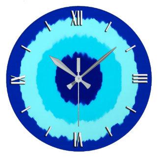 Modern batik circles - cobalt and aqua wall clocks