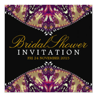 Modern Batik Gold+Burgundy Bridal Shower Invitatio Card
