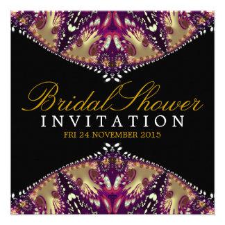 Modern Batik Gold+Burgundy Bridal Shower Invitatio Personalized Invites