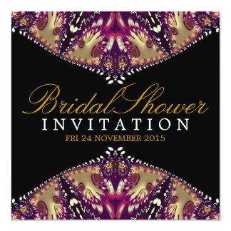 Modern Batik Gold+Burgundy Bridal Shower Invitatio 5.25x5.25 Square Paper Invitation Card