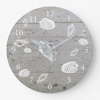 Modern beach driftwood ocean sea shells large clock