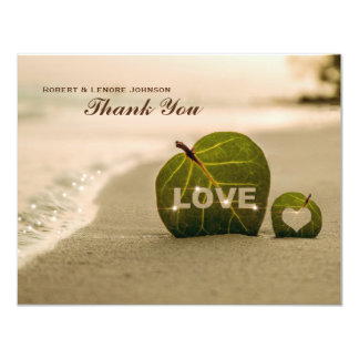 Modern Beach Leaf Love Personalized Thank You Note 4.25x5.5 Paper Invitation Card