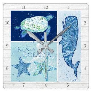 Modern Beach Ocean Deep Sea Whale Turtle Octopus Square Wall Clock