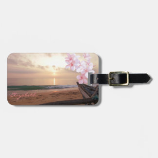 Modern Beach,Sunset,Plumeria Luggage Tag