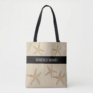 Modern Beach wedding Brides Maid sand burlap Tote Bag