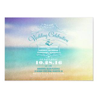 Modern beach wedding invitation- tropical blue sea 13 cm x 18 cm invitation card