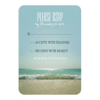 Modern beach wedding RSVP cards with blue sea 9 Cm X 13 Cm Invitation Card
