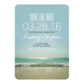 Modern beach wedding save the date cards 11 cm x 16 cm invitation card