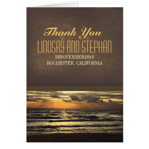 modern beach wedding thank you cards with sunset