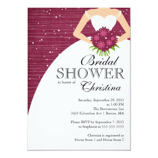 Modern Beautiful Bride Bridal Shower Personalized Invitation