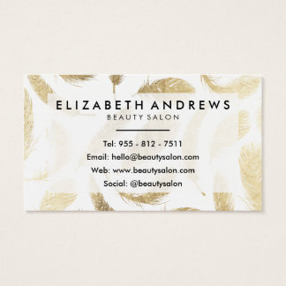 Modern beauty salon faux gold elegant feathers business card