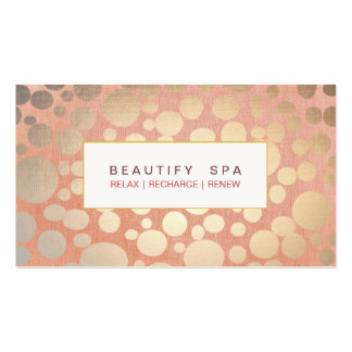 Modern Beauty Salon & Spa Faux Gold Coral Pink Pack Of Standard Business Cards