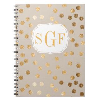Modern Beige and Gold Glitter City Dots Notebook