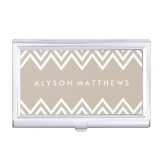 Modern Beige and White Chevron Business Card Holder