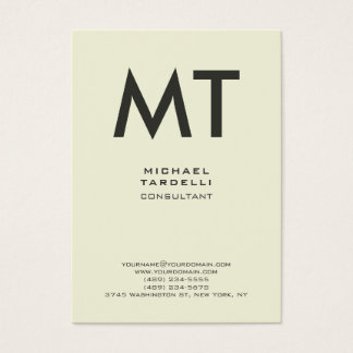 Modern Beige Color Trendy Vertical Bold Monogram Business Card