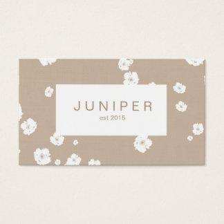 Modern Beige Natural and White Flower Business Card