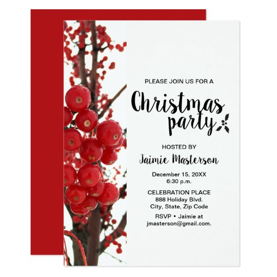 Modern, Berry, Red, Christmas Party Invitation