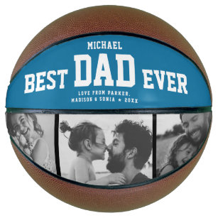 Modern BEST DAD EVER Cool Photo Collage Retro Blue Basketball