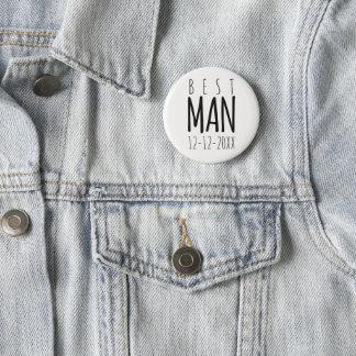 Modern Best Man Wedding Pin Button