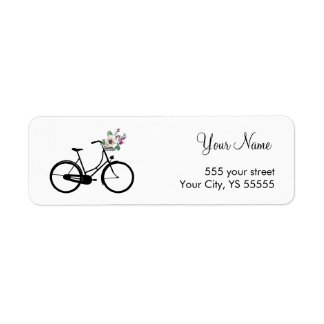 Modern Bicycle Design with flower basket Return Address Label