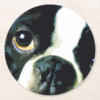 modern big Boston Terrier Round Paper Coaster