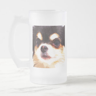 modern big Chihuahua Frosted Glass Beer Mug