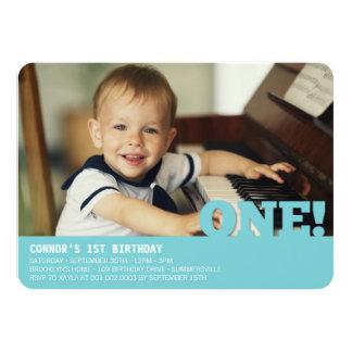 Modern Big ONE Fun Baby Boy Photo First Birthday 11 Cm X 16 Cm Invitation Card