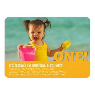 Modern Big ONE Fun Baby Girl or Boy First Birthday 13 Cm X 18 Cm Invitation Card