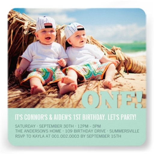 Modern Big ONE Fun Baby Twins Photo First Birthday Personalized Invitations