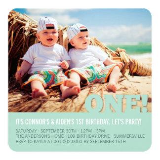 Modern Big ONE Fun Baby Twins Photo First Birthday 13 Cm X 13 Cm Square Invitation Card
