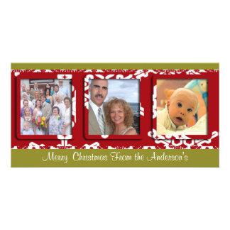Modern Big Snowflake Frame Holiday Family Photo Photo Greeting Card